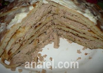 блинный пирог с курицей рецепт