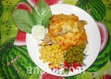 Рыба запечённая с кукурузой под сыром
