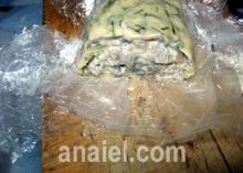 """Рулет """"Пикантный"""" с грибами, сыром луком и зеленью"""
